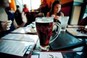 Image of a beer glass on a restaurant table
