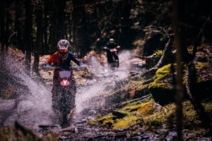 Image of someone on a dirt bike riding through a small creek