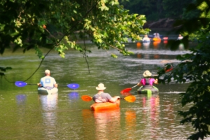 Image of people kayaking on a river